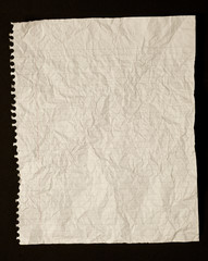 Crumpled Paper Background on Black