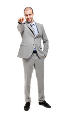 Confident businessman pointing at you