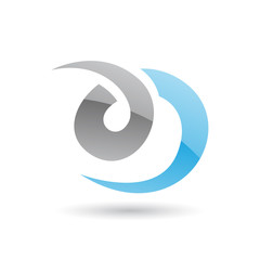 Grey and Blue Swirly Abstract Icon