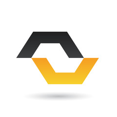 Black and Yellow Abstract Icon