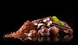 Pile of hazelnut chocolate on black background