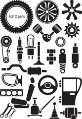 Auto parts. Set of vector signs