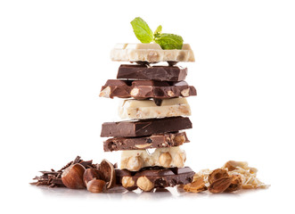 Pile of hazelnut chocolate on white background