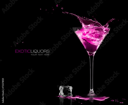 Poster Alcohol Cocktail Glass with Strawberry Spirit Drink Splashing. Template