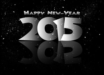 Happy new year 2015 mirrored in black