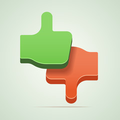 Like and unlike / thumbs up and thumbs down vector illustration.
