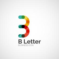 B letter logo, minimal line design