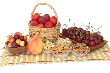 Fruits and nuts on a napkin