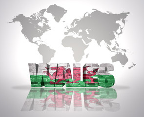Word Wales  on a world map background