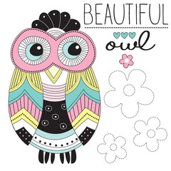 beautiful owl vector illustration
