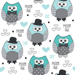 mister owl pattern vector illustration