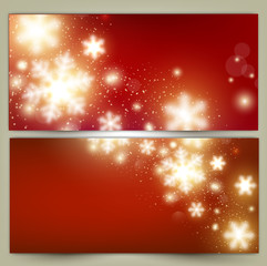 Set of Elegant Red Christmas banners with snowflakes. Vector ill