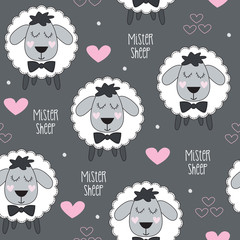 mister sheep lamb pattern vector illustration