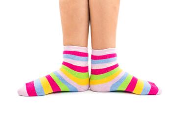 striped socks on the feet