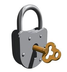 Padlock with a key