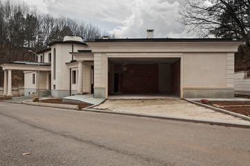 Abandoned unfinished big modern house