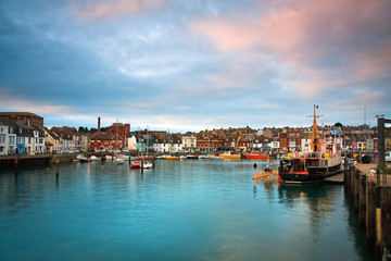 Fishing harbour in Weymouth, Dorset, UK.