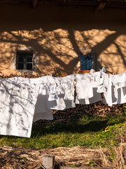 Clothes line full of laundry