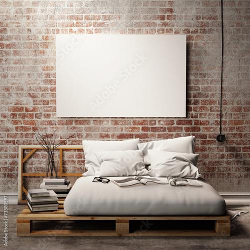 mock up poster with vintage hipster loft interior background - 73380597