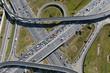 Leinwanddruck Bild - Aerial view of highway interchange of a city