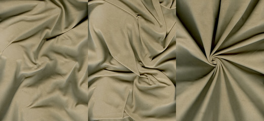 Set of rumpled grayish orange suede leather textures