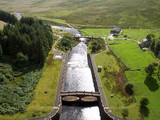 Dam of Clearwen reservoir, Elan Valley, Wales