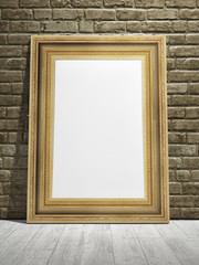 Golden frame with vintage wall background