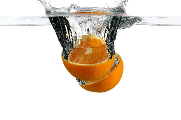 Orange immersed in water
