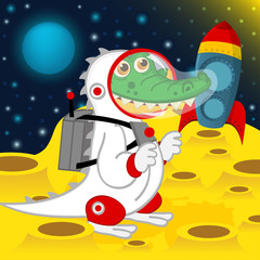 crocodile astronaut on moon - vector illustration, eps