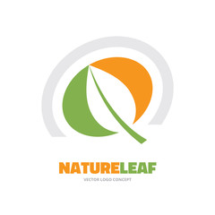 Nature leaf - vector logo concept in minimal classic style.