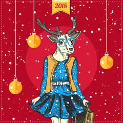 Hand drawn deer woman with snowfall and xmas balls. Hipster