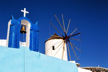 Windmill in Oia, Santorini, Greece.