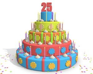 Taart viering 25e verjaardag, bezoeker of volger