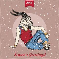 Hand drawn goat man with snowfall. Hipster Christmas greeting