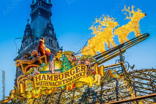 Leinwanddruck Bild Hamburger Weihnachtsmarkt