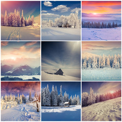 Winter collage with 9 square Christmas landscapes.