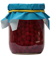 Jar of jam isolated on a white background.