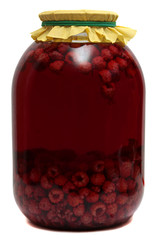 Jar with raspberry compote on  white background