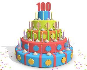 Honderd jaar - taart met kaarsjes