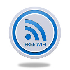 Free wifi circular icon on white background