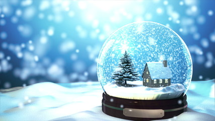 4K Loop able Christmas Snow globe Snowflake