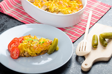 Baked Pasta with pork meat