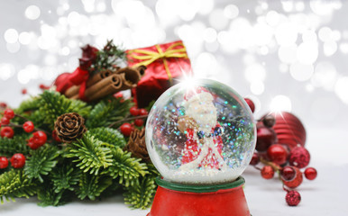 Christmas background with snow globe