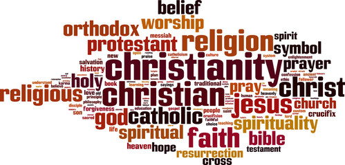 Christianity word cloud concept. Vector illustration