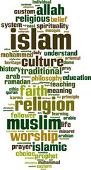 Islam word cloud concept. Vector illustration