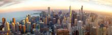 "Постер, картина, фотообои ""Aerial Chicago panorama at sunset, IL, USA"""