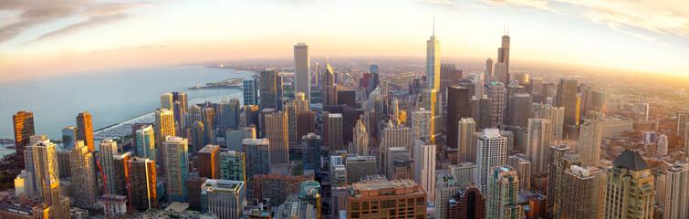 Aerial Chicago panorama at sunset, IL, USA © Oleksandr Dibrova