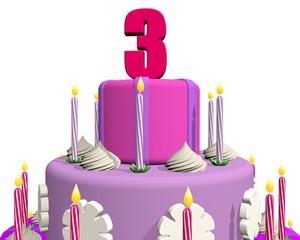 Closeup taart voor meisje van 3