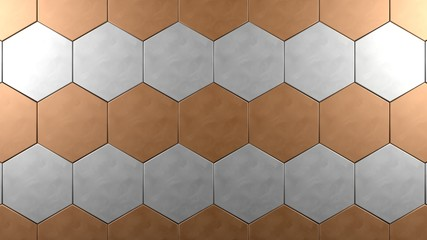 copper and steel hexagon background