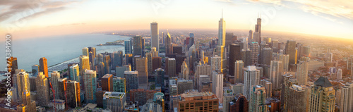 Staande foto Verenigde Staten Aerial Chicago panorama at sunset, IL, USA